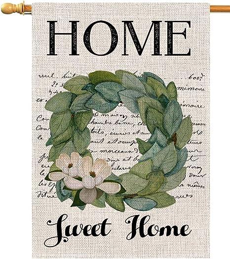 Amazon.com: Home Sweet Home Magnolia - Bandera vertical de ...