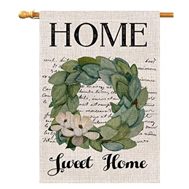 Home Sweet Home Magnolia Large House Flag Vertical Double Sided 28 x 40 Inch Farmhouse Summer Burlap Yard Outdoor Decor