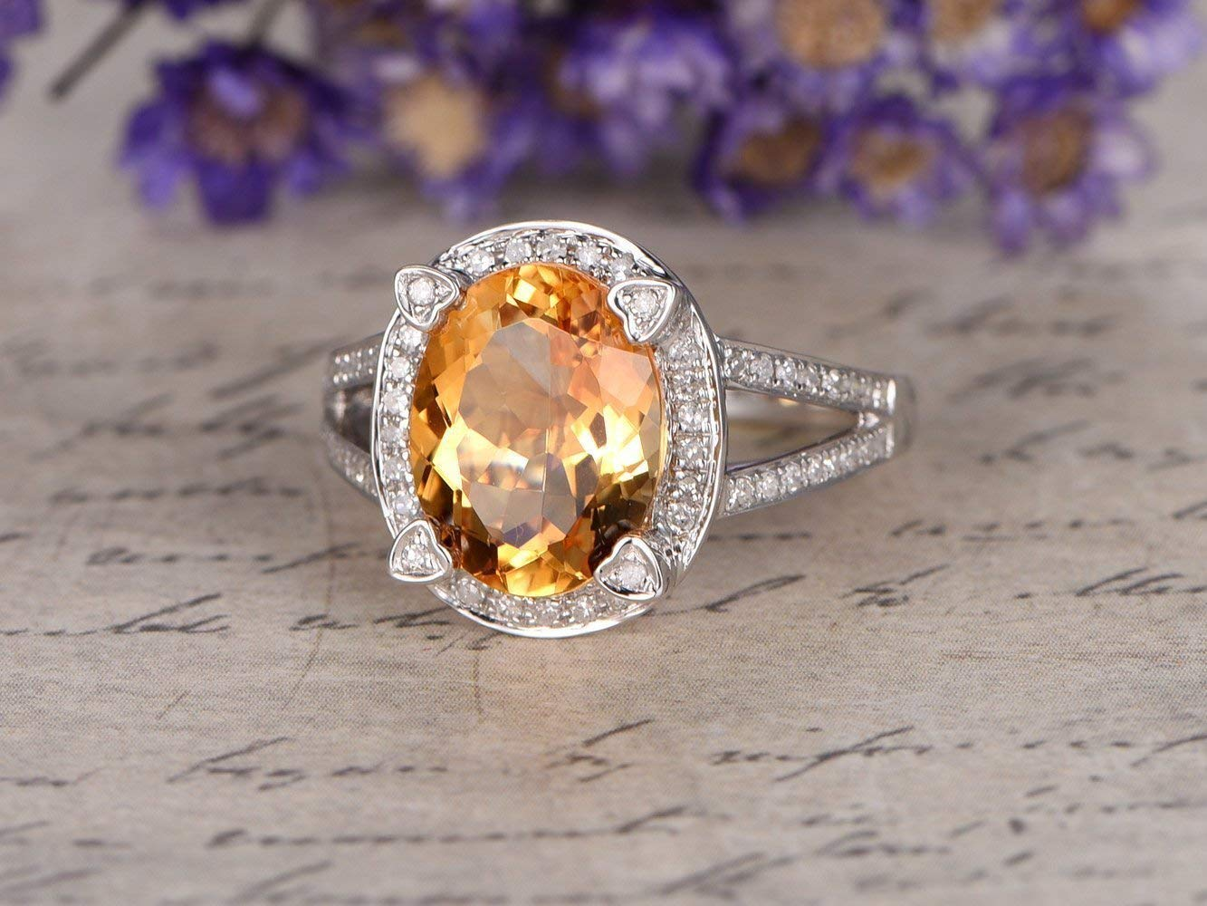 Gemstone Oval Shape 10k White Gold Earrings for Women Details about  /Citrine 2.48 Ct
