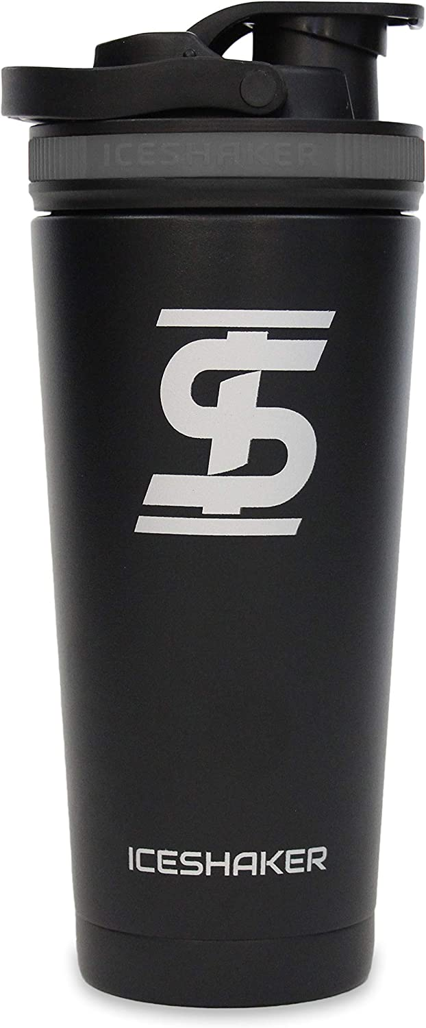 Ice Shaker Stainless Steel Insulated Water Bottle Protein Mixing Cup (As seen on Shark Tank) | Gronk Shaker | 26 oz (Grey)