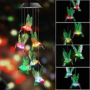 Qcyuui Solar Hummingbird Wind Chime 2 Pack, LED Color Changing Windchimes Light, Garden Mobile Hanging Lamp Fixture Waterproof for Outdoor, Porch, Deck, Home, Party Romantic Decoration