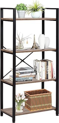Bookshelf Vintage 4 Tier Solid Wood Bookshelf Bookcase Display Shelf Rack Storage Organizer Review