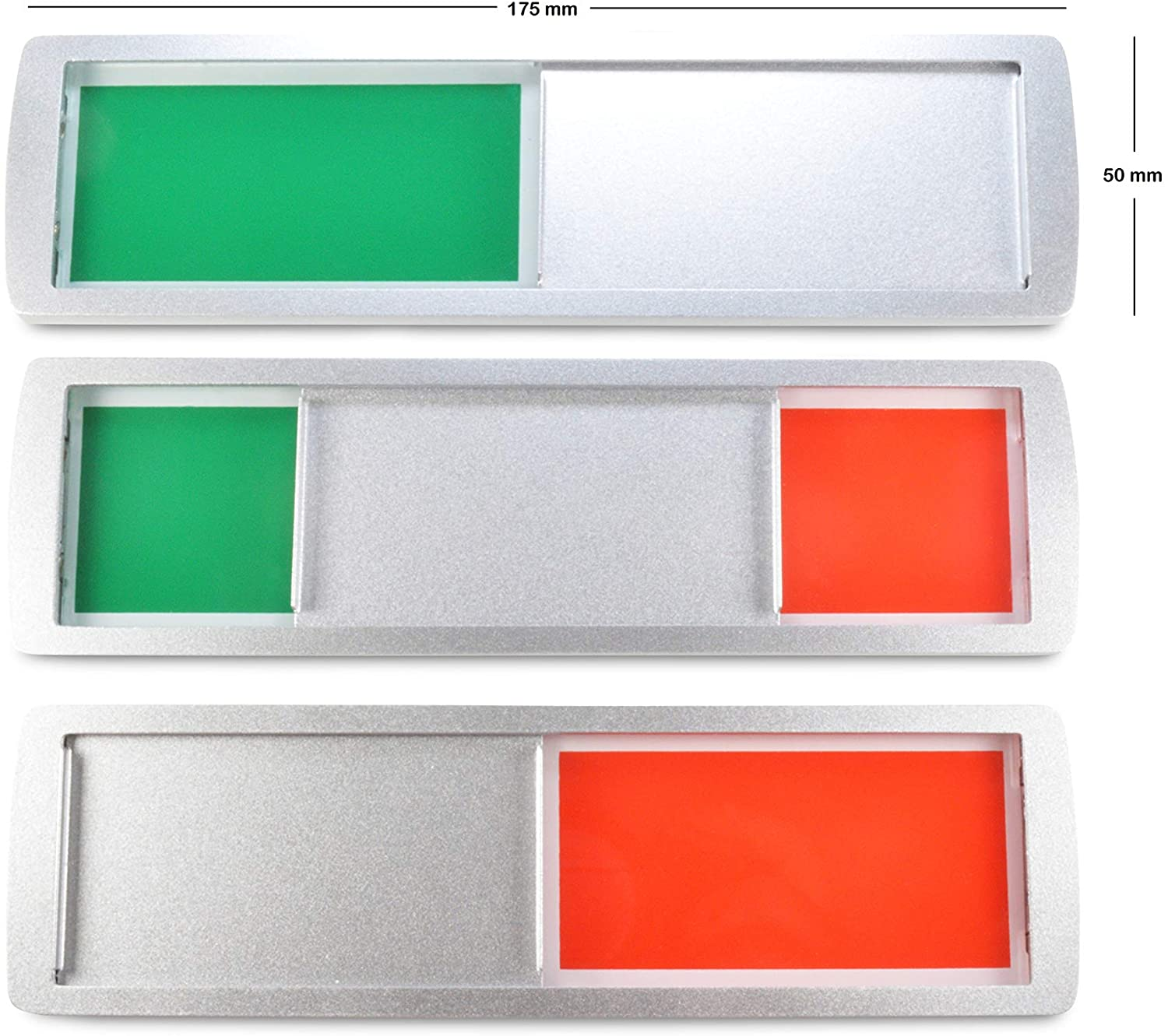 With Slider /& Holding Magnets Back: Strong 3M Adhesive Surface Neutral with Green//Red LARGE FREE//BOCKED Sliding Sign XL Free Adhesive Sticker Free Studded 175 x 5 cm Silver 17.5 x 5 cm
