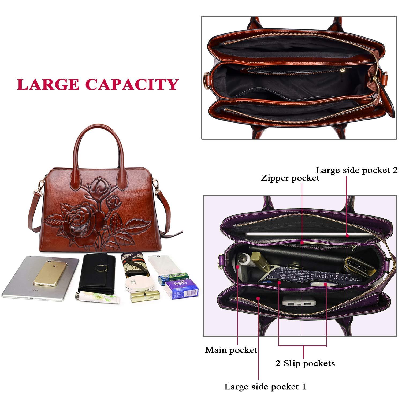 0ccf15c9be78 PIJUSHI Top Handle Satchel Handbag For Women Floral Purses Genuine Leather  Shoulder Bag