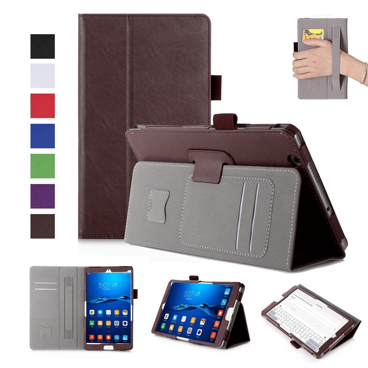 Huawei MediaPad M3 8.4インチケース 高級本革ケース スタンド付き フリップカバー ハンドメイド Huawei MediaPad M3 8.4インチ用 ブラウン   B07LCJCVBG