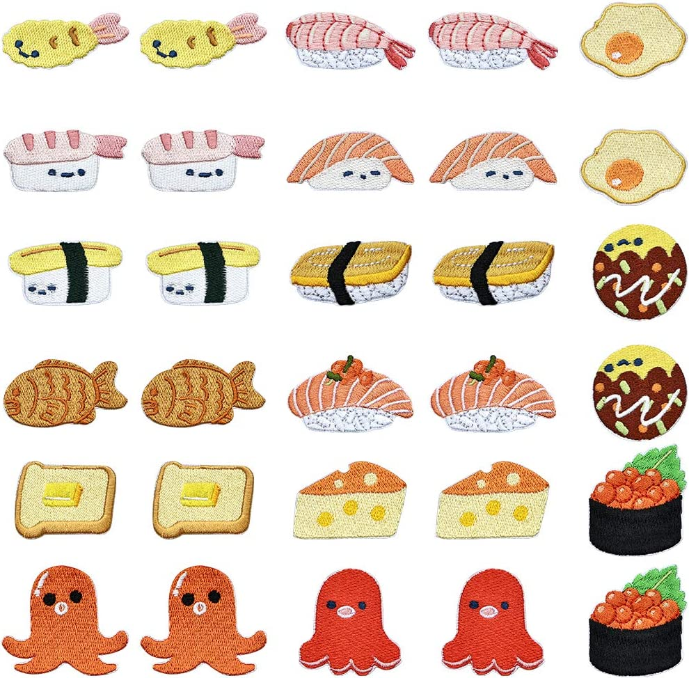 PGMJ 30 Pieces Interesting Bread, Small Octopus, Sushi Iron On Patch, Fried Egg Cheese, Salmon, Shrimp, Sashimi Foods Patch for Arts Crafts DIY Decor, Jeans, Jackets, Kid's Clothing, Bag,Caps