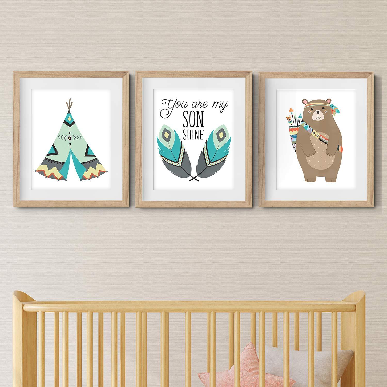 Animals Baby Room Set of 3 Wall Art Simple Woodland - Nursery Prints