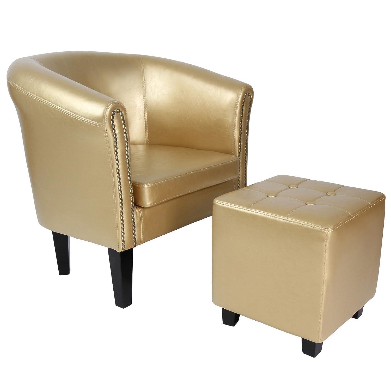 Chesterfield Sessel und Hocker | aus Kunstleder und Holz, mit Zierknöpfen, in verschiedenen Farben verfügbar | Lounge Sessel und Sitzhocker Set, Clubsessel, Armsessel, Wohnzimmer Möbel (Gold)