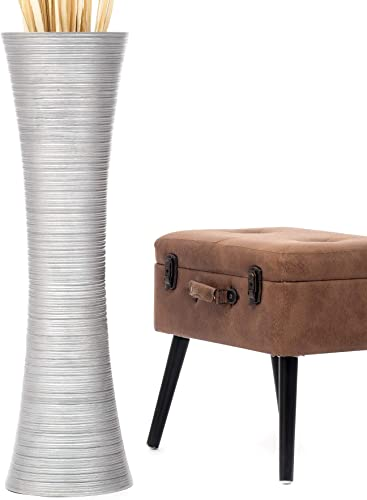 Leewadee Tall Big Floor Standing Vase for Home Decor 36 inches, Mango Wood, Silver-Coloured