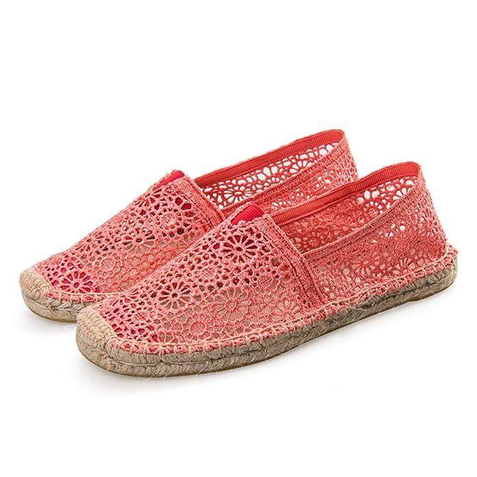 Zapatos de Hombre, Zapatos de Mujer Lienzo Primavera Verano Suelas Ligeras Alpargatas Zuecos y tacón Plano Punta Redonda con Cordones Hueco-hacia Fuera ...