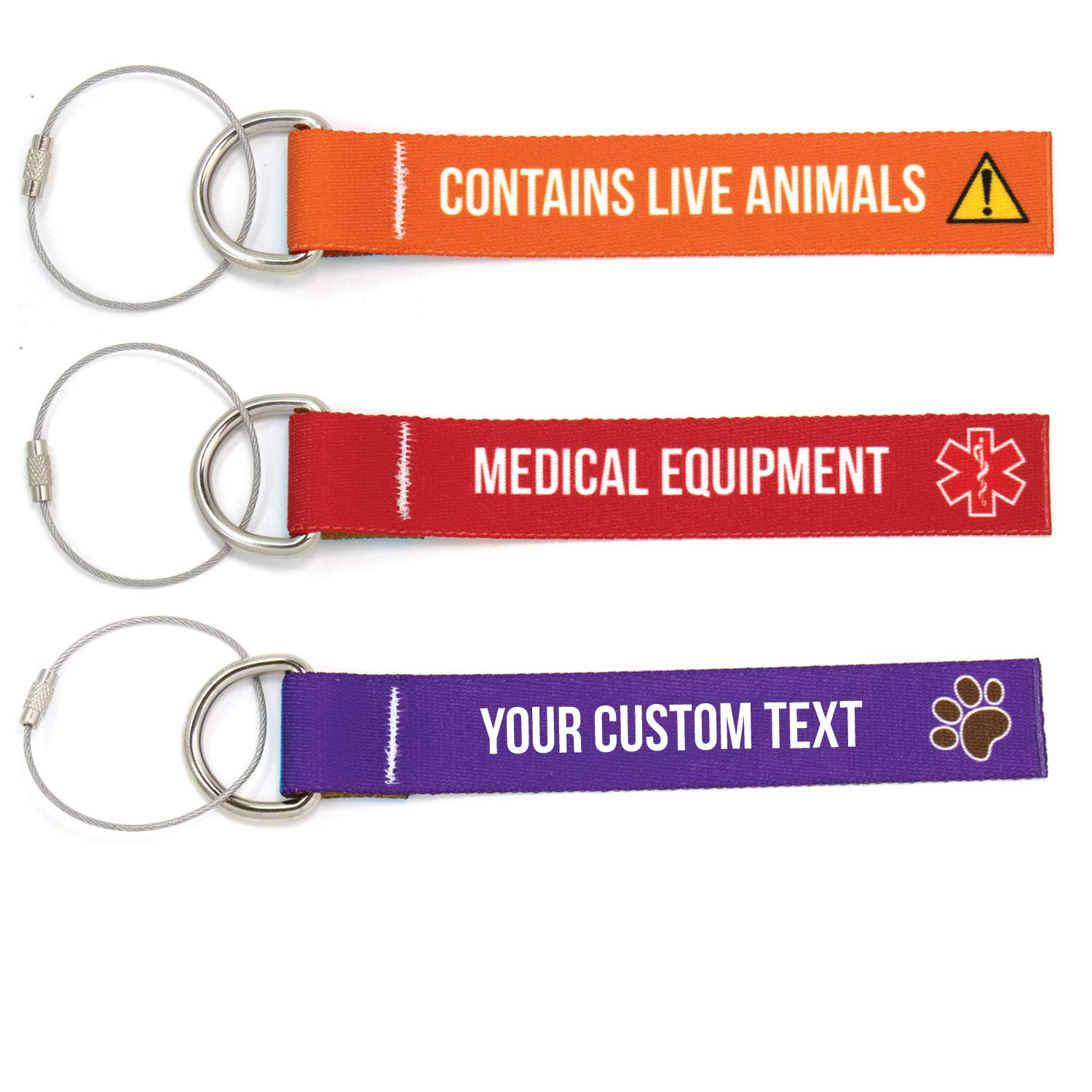 Buttonsmith Custom Luggage Tags - Set of 3 - Customize With Your Text - Designed, Printed, and Assembled in USA by Buttonsmith