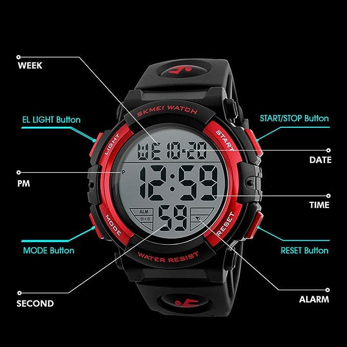 Amazon.com: Kid Watch 50M Waterproof Sport LED Alarm ...