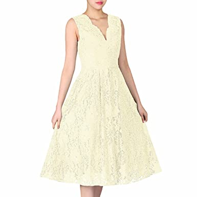 af6d544ac0c Samtree Women s Vintage V-Neck Floral Cocktail Party Sleeveless Lace Swing  Dress(S(