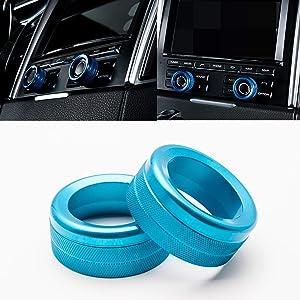 Xotic Tech 2pcs Anodized Aluminum AC Climate Control Knob Ring Volume Knob Decor Cover for Porsche Cayenne Macan Panamera Blue