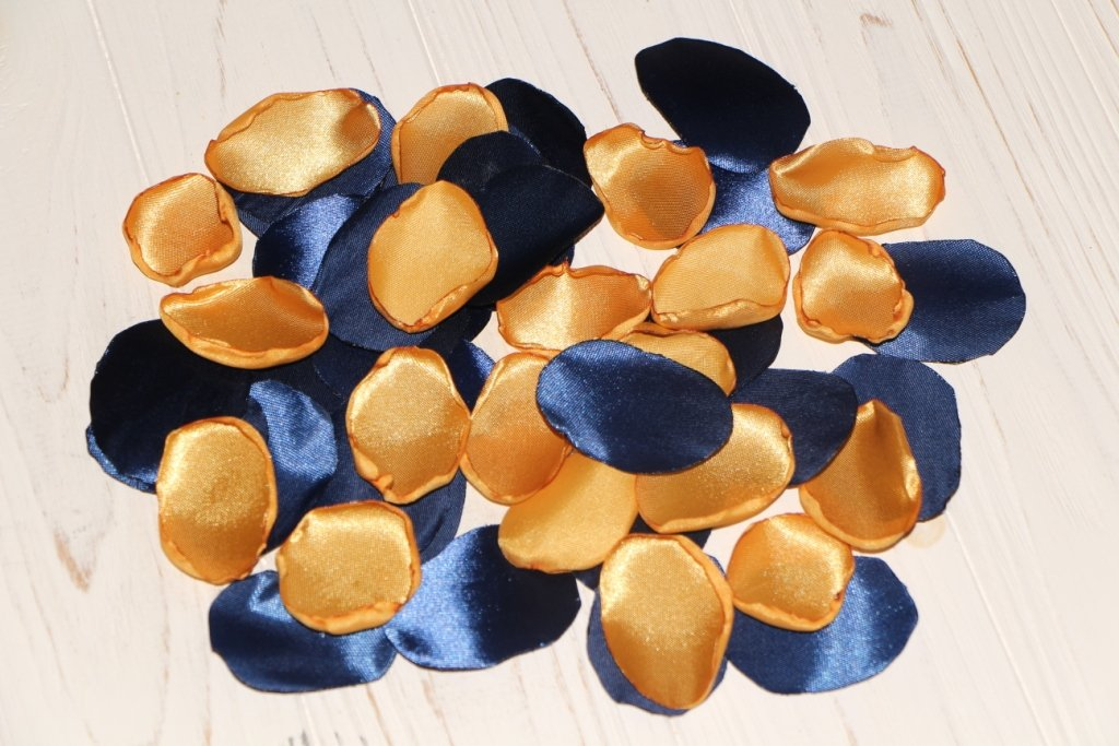 Blue and Gold, Set of 100, Navy Rose Petals, Gold Wedding Decor, Navy Blue Wedding, Rose Gold Flower Petals, Blue Rose Petals, Aisle Petals, Gold Bridal Shower