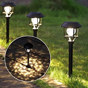 MAGGIFT Outdoor Solar Powered Path Lights Christmas LED Decor, 8 Lumen Bright 6 LED Lights Flash in Turn Solar Lights Waterproof Holiday Decoration for Garden, Landscape, Yard, Driveway, Patio, 4 Pack