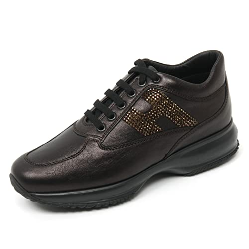 C7854 sneaker donna HOGAN INTERACTIVE shoe H micro paillettes marrone shoe INTERACTIVE woman 474684