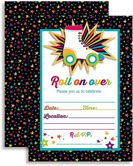 Personalised Roller Skating Party Invitations Unicorn Invite Disco Skate