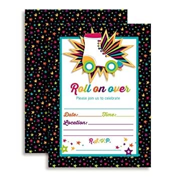 Amazon roller skating birthday party invitations ten 5x7 roller skating birthday party invitations ten 5quotx7quot fill in cards with 10 stopboris Image collections