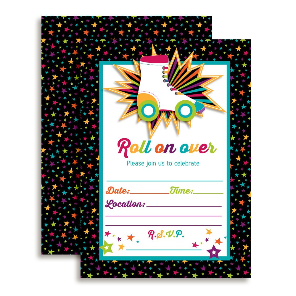 Roller Skating Birthday Party Invitations, Ten 5''x7'' Fill In Cards with 10 White Envelopes by AmandaCreation