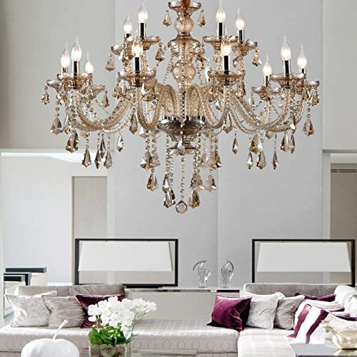 TryE Luxurious 15 Arm Chandelier K9 Crystal Glass Ceiling Light Pendant Lamp Cognac Color