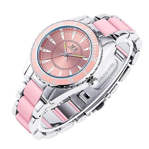 94bf9e6ee00c Lujoso Reloj de Pulsera para Mujer de Acero Inoxidable con Mecanismo de  Cuarzo y Pulsera con Cristales engarzados