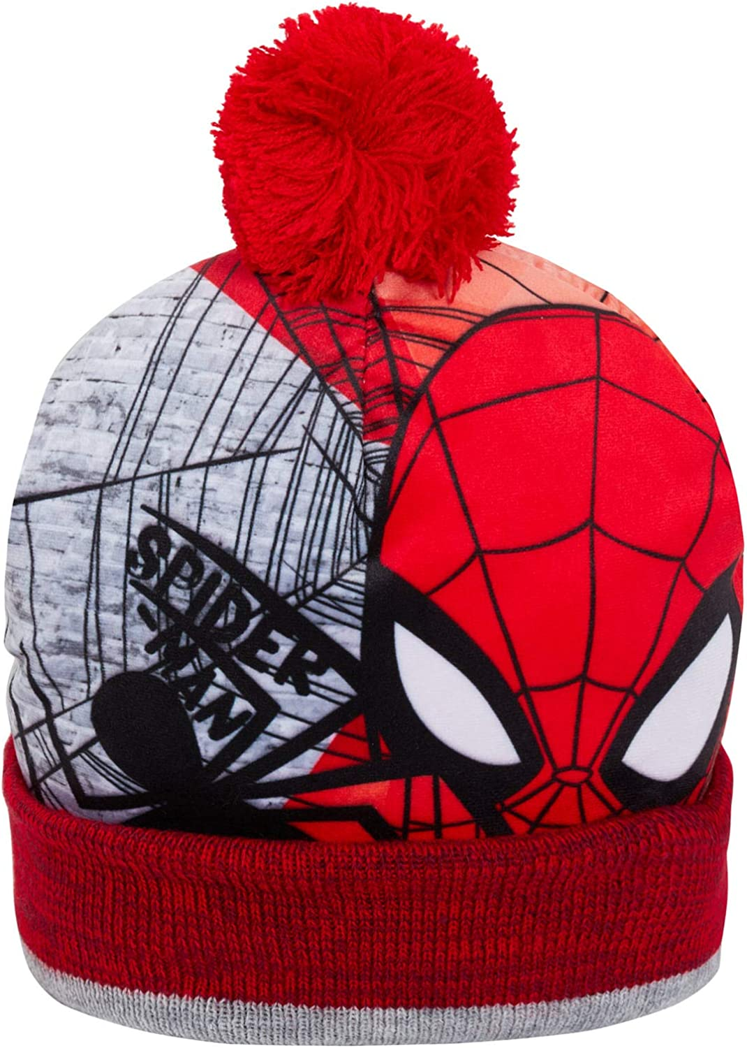Marvel Boys Spiderman Bobble or Beanie Hat with Gloves Set Winter Warm Knitwear Kids Xmas Gift