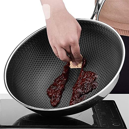 Amazon.com: Wok, 304 wok de acero inoxidable de la sartén no ...