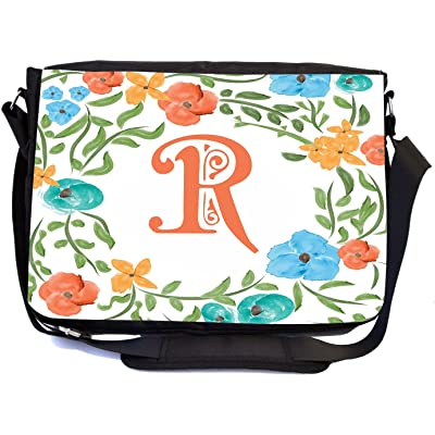 Rikki Knight Letter R Monogram Floral Art Peachy Blue Design Design Multifunctional Messenger Bag - School Bag - Laptop Bag - with padded insert for School or Work - Includes Matching Compact Mirror