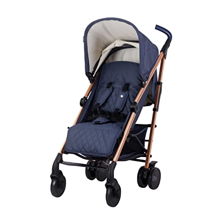 My Babiie Rose Gold and Navy Baby Stroller Lightweight Baby Stroller with Carry Handle Rose Gold Frame and Navy Blue Canopy Lightweight Travel Stroller Suitable from Birth 33