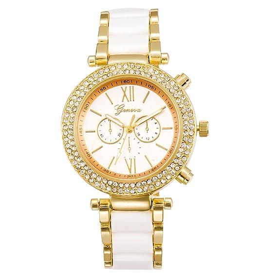 Watch Unisex cuarzo Relojes Mujer Analógico de Pulsera Relojes Stianless Acero Sports Relojes (Color Blanco