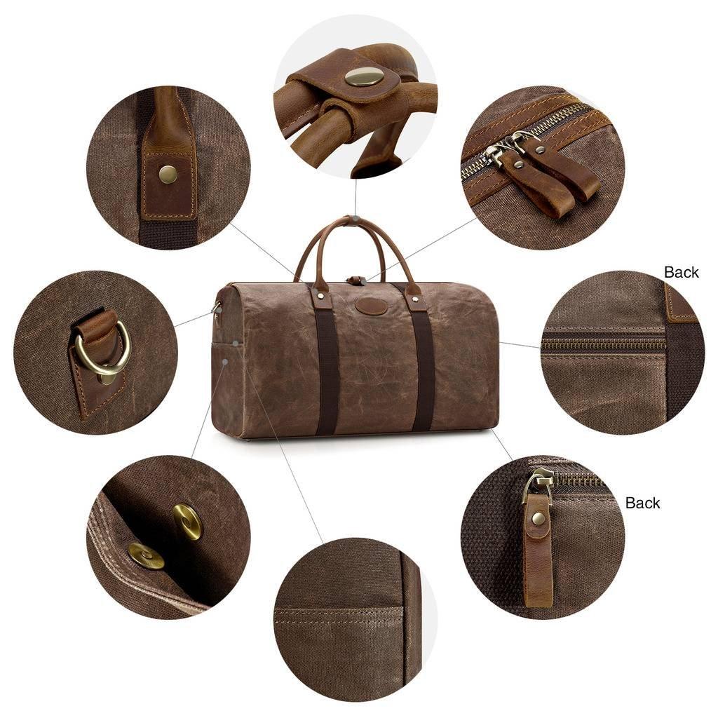 Plambag Travel Duffel Bag Waxed Canvas Water Resistant Overnight Weekend Bag Coffee