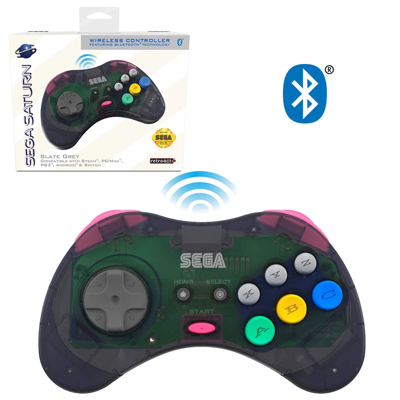 Retro-Bit Official Sega Saturn Bluetooth Controller 8-Button Arcade Pad for Nintendo Switch, PC, Mac,  Fire TV, Steam - Slate Grey: Video Games