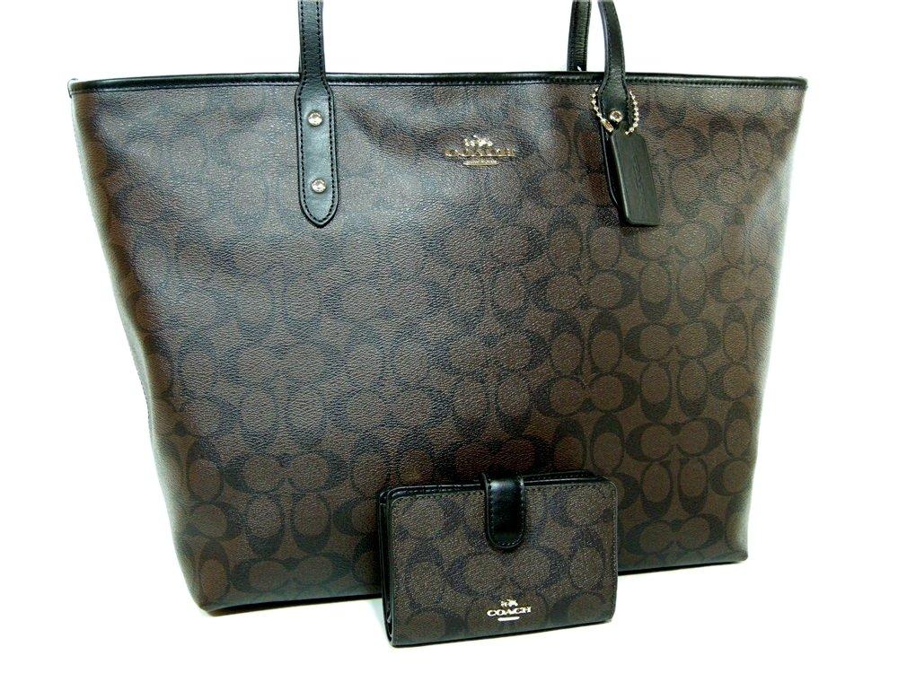 New Coach C Signature Purse Hand Bag & Wallet Matching 2 Piece Set Black Brown