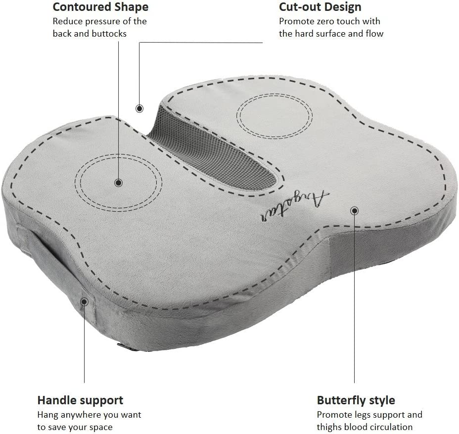 Argstar Coccyx Orthopedic Seat Cushion and Lumbar Support|for Car Office Computer Chair|Non-Slip Butterfly Premium Comfort Shape Memory Foam Cushion|Suitable for Tailbone Sciatica and Back Pain Relief