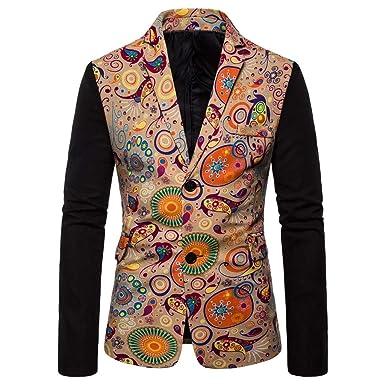 Tosonse Blazer Casual para Hombre Vestido Estampado Étnico ...
