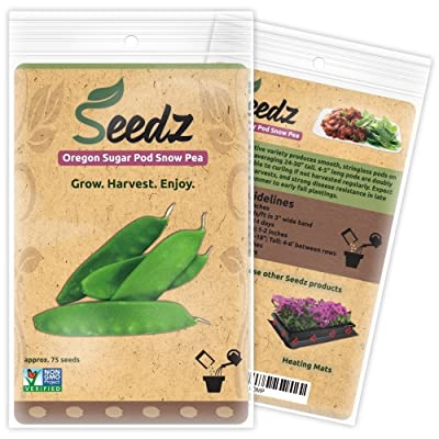 Organic Pea Seeds (APPR. 75) Oregon Sugar Pod Snow Pea - Heirloom Vegetable Seeds - Certified Organic, Non-GMO, Non Hybrid - USA : Garden & Outdoor