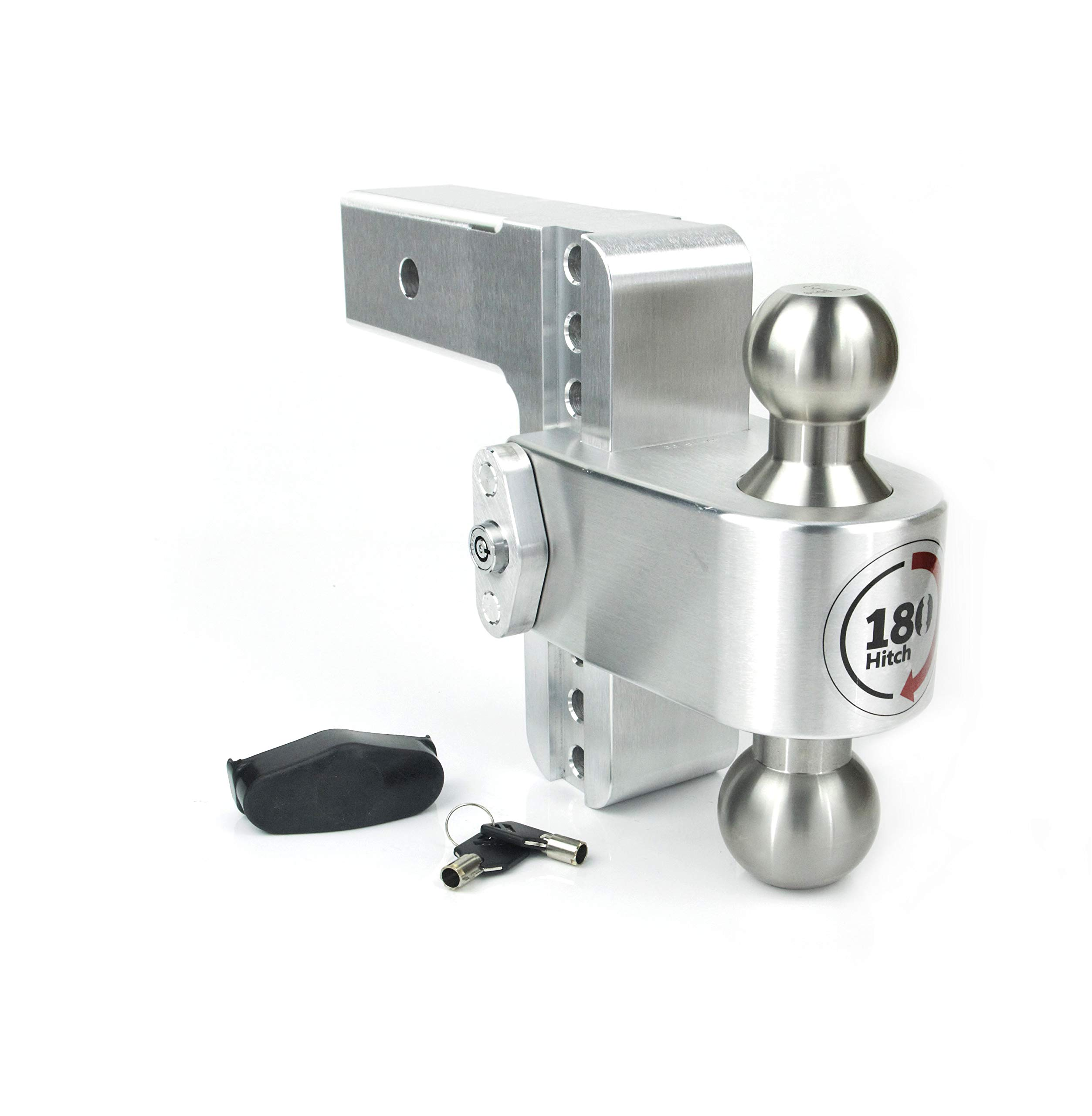 Weigh Safe LTB6-2.5, 6'' Drop 180 Hitch w/ 2.5'' Shank/Shaft, Adjustable Aluminum Trailer Hitch & Ball Mount, Stainless Steel Combo Ball (2'' & 2-5/16'') and a Double-pin Key Lock