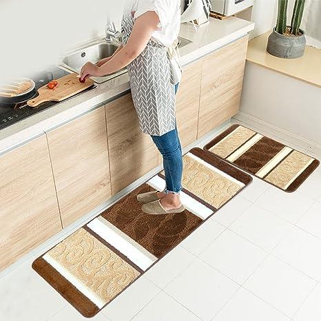 HEBE Kitchen Rugs Set 2 Piece Machine Washable Non-Slip Kitchen Mats and  Rugs Runner Set Rubber Backing Indoor Outdoor Entry Floor Carpet Door Mat  ...