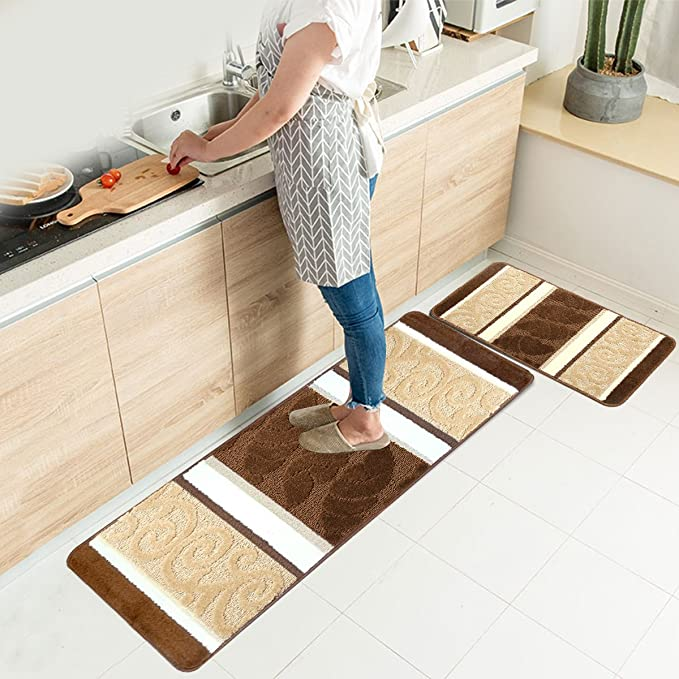 Amazon Com Hebe Kitchen Rugs Set 2 Piece Machine Non Slip Washable Kitchen Mats And Rugs Runner Set Rubber Backing Indoor Outdoor Entry Floor Carpet Entrance Door Mat Runner 18 X47 18 X30 Brown Office Products