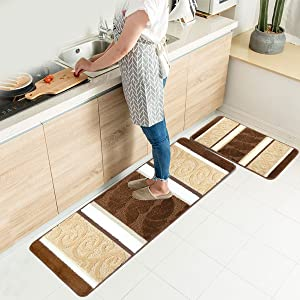 "HEBE Kitchen Rugs Set 2 Piece Non-Slip Kitchen Mats and Rugs Runner Set Rubber Backing Kitchen Floor Rug Runner Doormat Runner Machine Washable(18""x47""+18""x30"", Brown 2)"
