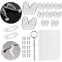Soft Anti-Slip Silicone Air Chamber Eyeglass Nose Pads, Eyeglass Repair Kit, Glasses Screws, Micro Screwdriver, 10 Pairs 15mm Air Bag Glasses Nose Pad Set