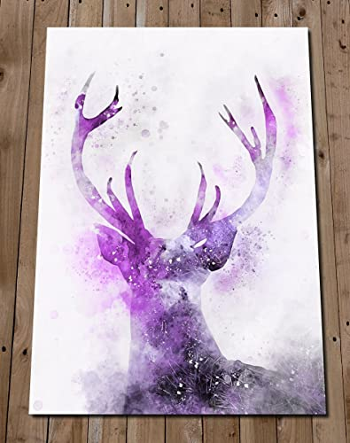 Stag Print   Purple Wall Art   Colourful Watercolour Nursery Art   Deer  Head Painting