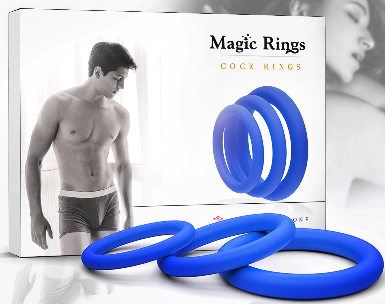 Magic Rings Penis Ring Set for Men - Adult Toys for Couples - Sex Enhancer Ring - Silicone Cock Rings for Longer Orgasm - Blue