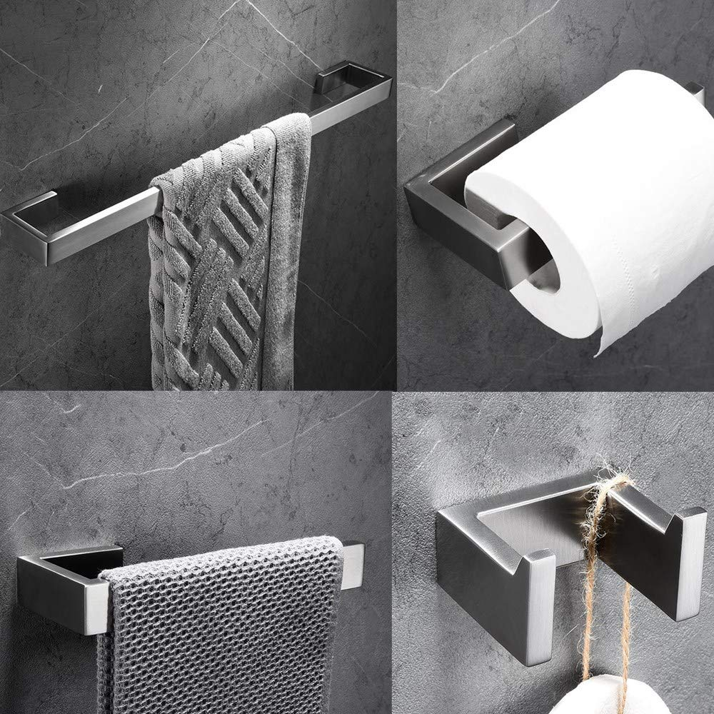 RGHS 4 PCS Brushed Nickel Bathroom Hardware Set (Towel Bar Toilet Paper Holder Towel Hook Towel Ring), Wall Mount Complete Bathroom Accessories Set