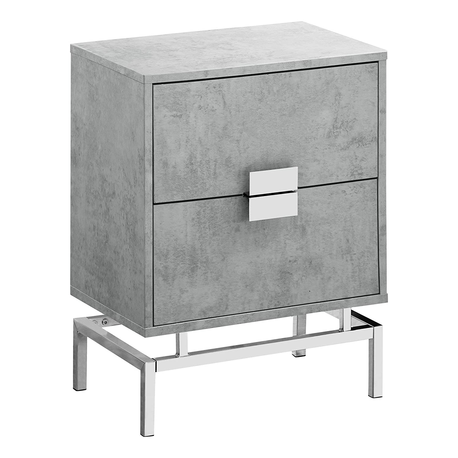 """Monarch Specialties I I 3491 Accent, End, Night Stand, Side Table, 2 Drawers, 24"""" H, Grey Cement/Chrome by Monarch Specialties"""