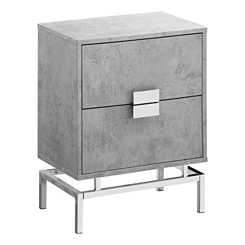Monarch Specialties I 3491 Accent, End, Night Stand, Side Table, 2 Drawers, 24 H, Grey Cement Chrome