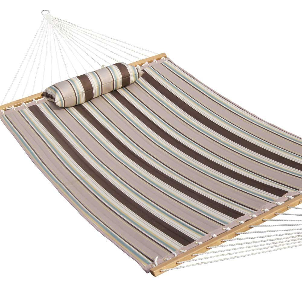 Prime Garden Quilted Double Fabric Hammock, Hardwood Spreader Bars with Pillow,Outdoor Polyester