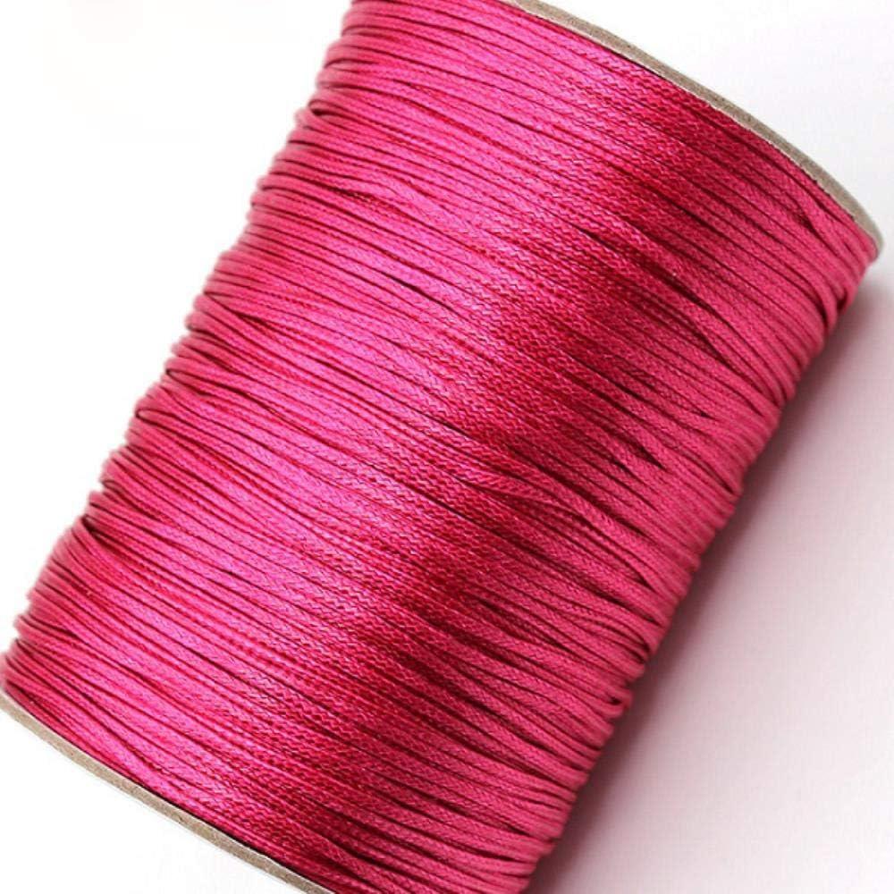 LLAAIT Cordón de algodón Encerado de 1 mm 15 Metros/Lote Cordón de Hilo Encerado Correa de Cuerda Collar Cuerda DIY Fabricación de Joyas, Rosa: Amazon.es: Jardín