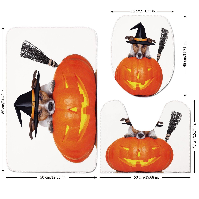 3 Piece Bathroom Mat Set,Halloween,Witch-Dog-with-a-Broomstick-on-Large-Pumpkin-Fun-Humorous-Hilarious-Animal-Print,Multicolor.jpg,Bath Mat,Bathroom Carpet Rug,Non-Slip